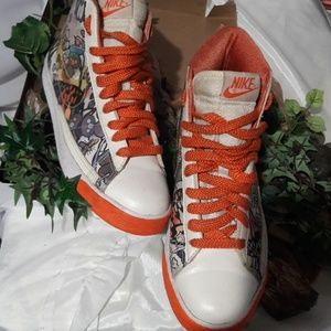 NIKE hi top Sneakers 8.5 orange white multi